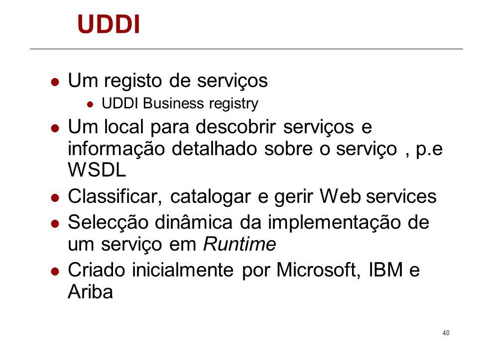 UDDI Um registo de serviços