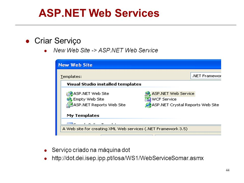ASP.NET Web Services Criar Serviço