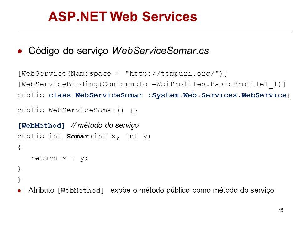 ASP.NET Web Services Código do serviço WebServiceSomar.cs