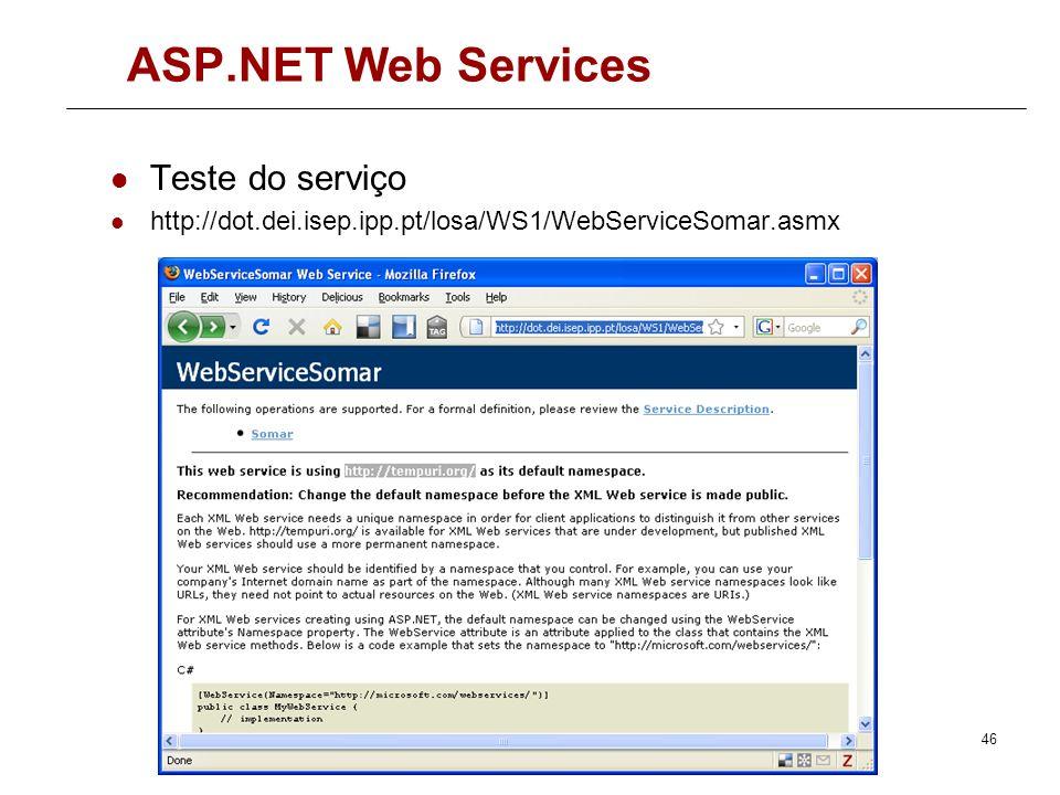 ASP.NET Web Services Teste do serviço
