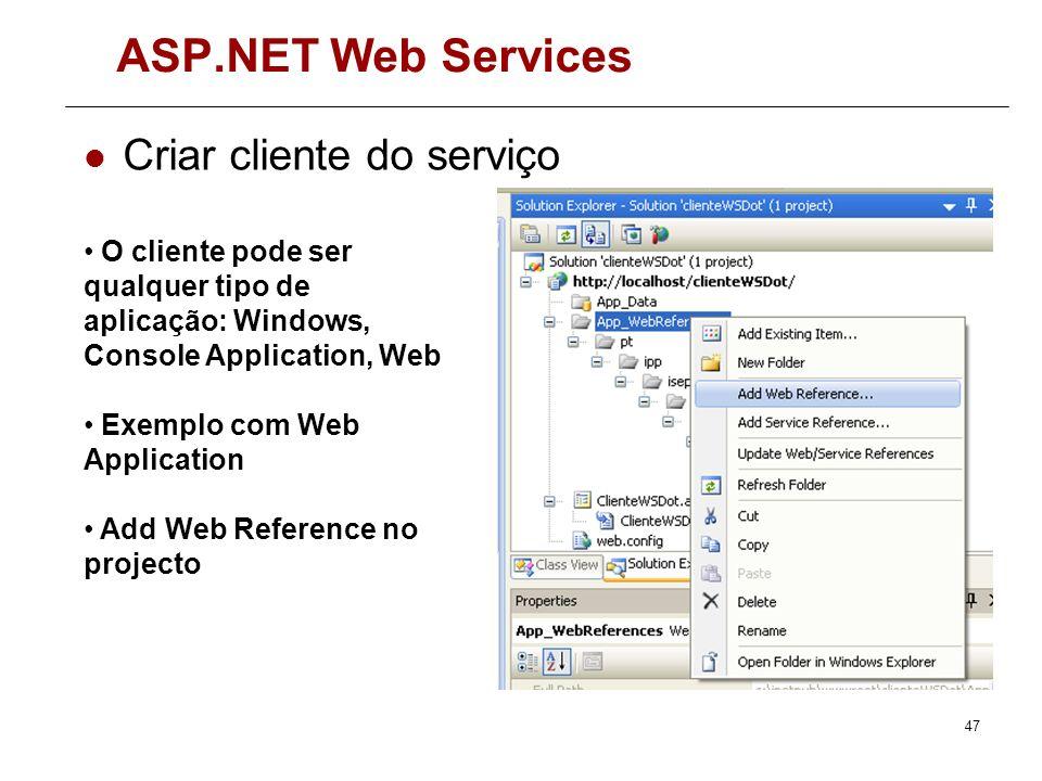 ASP.NET Web Services Criar cliente do serviço