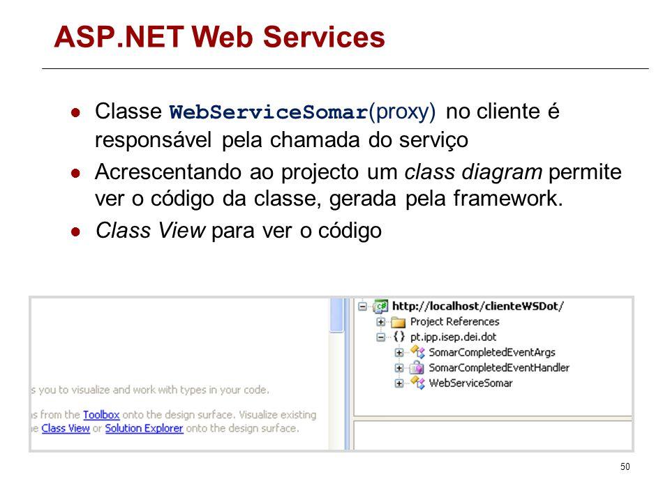 ASP.NET Web Services Classe WebServiceSomar(proxy) no cliente é responsável pela chamada do serviço.