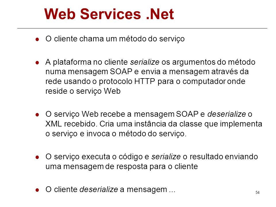 Web Services .Net O cliente chama um método do serviço