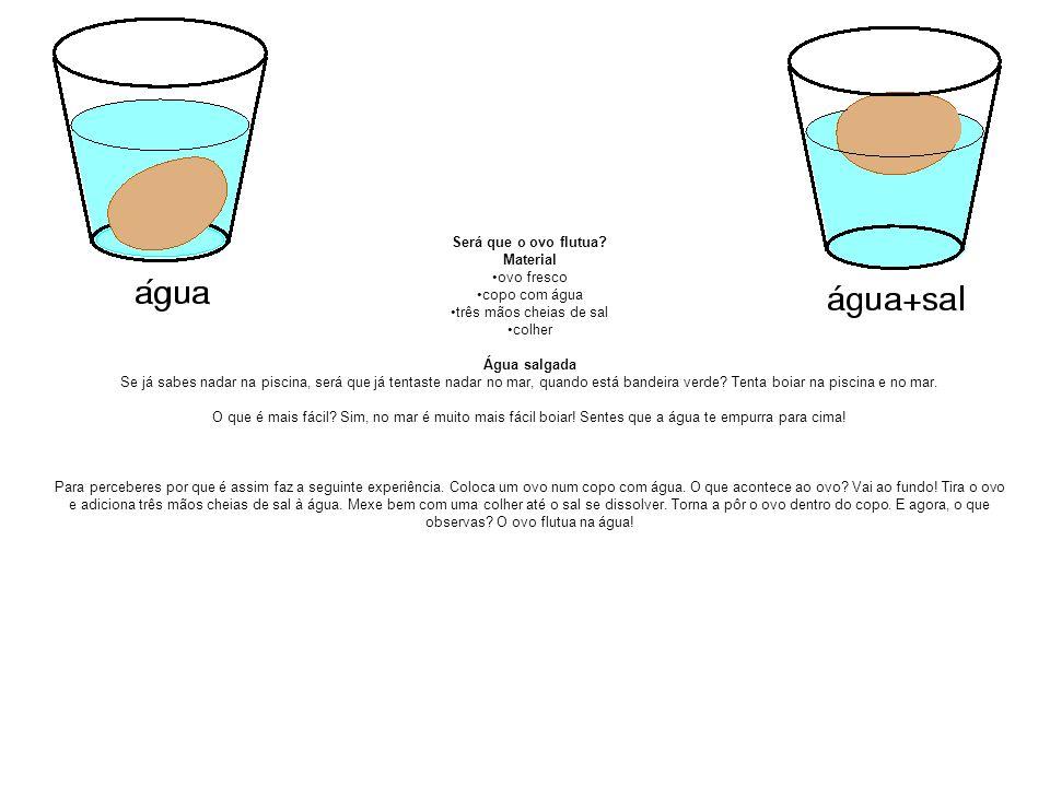 Será que o ovo flutua Material. ovo fresco. copo com água. três mãos cheias de sal. colher. Água salgada.