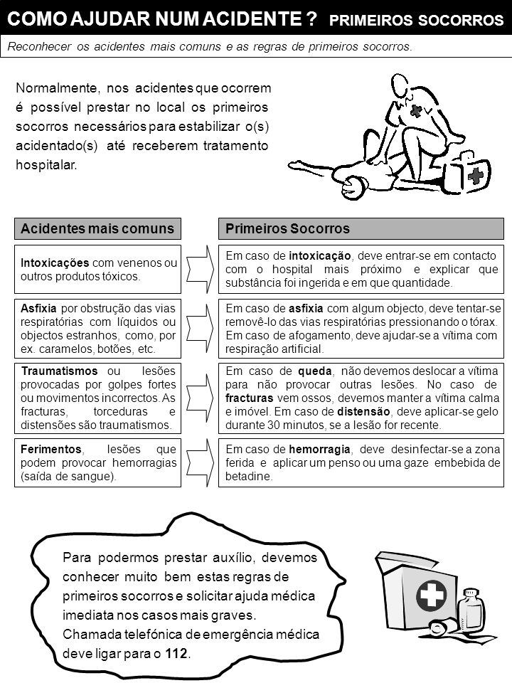 COMO AJUDAR NUM ACIDENTE PRIMEIROS SOCORROS