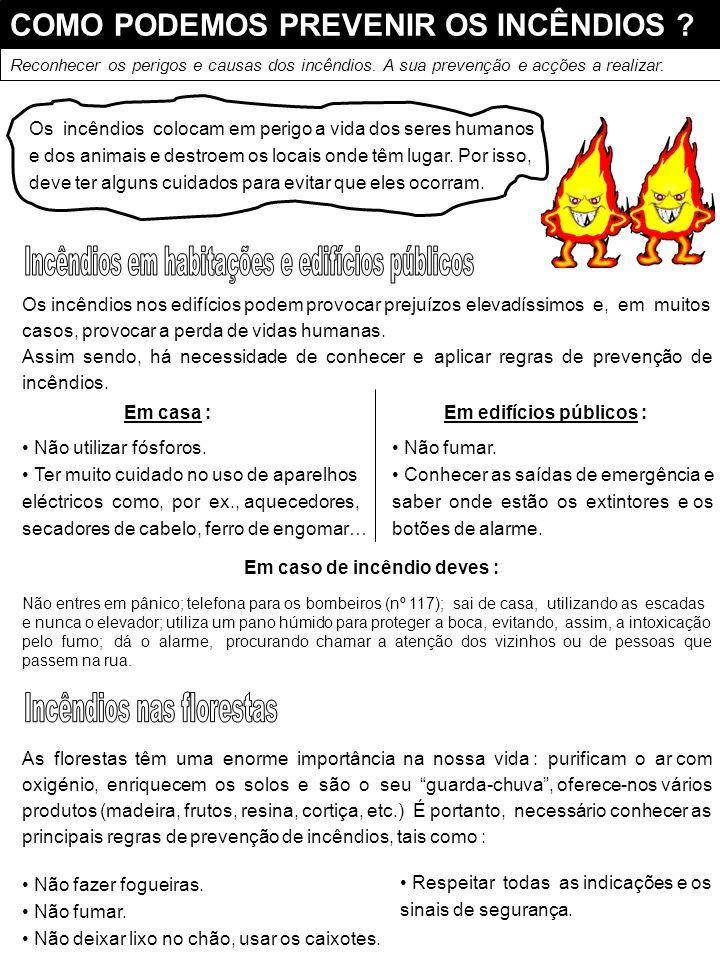 Em edifícios públicos : Em caso de incêndio deves :