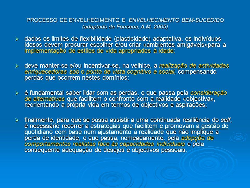 PROCESSO DE ENVELHECIMENTO E ENVELHECIMENTO BEM-SUCEDIDO (adaptado de Fonseca, A.M. 2005)