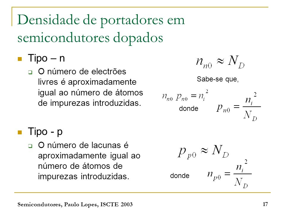 Densidade de portadores em semicondutores dopados