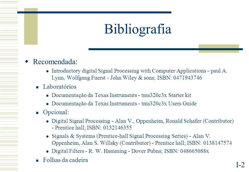 Bibliografia Recomendada: Laboratórios Opcional: Folhas da cadeira