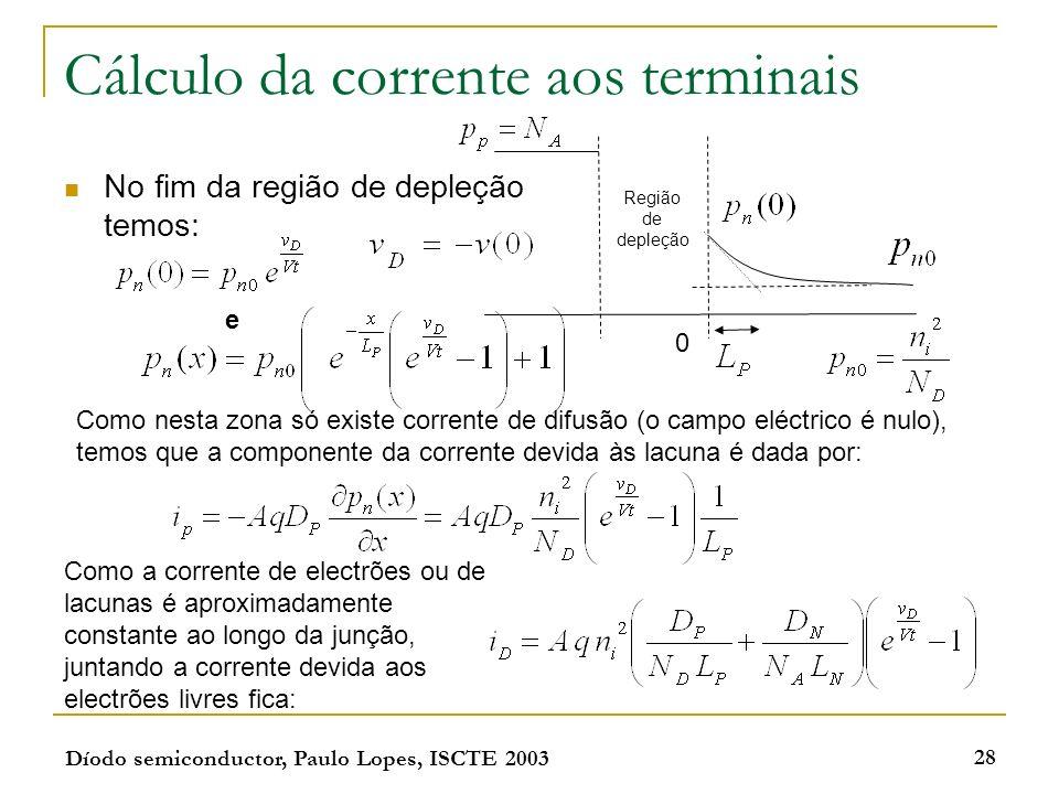 Cálculo da corrente aos terminais