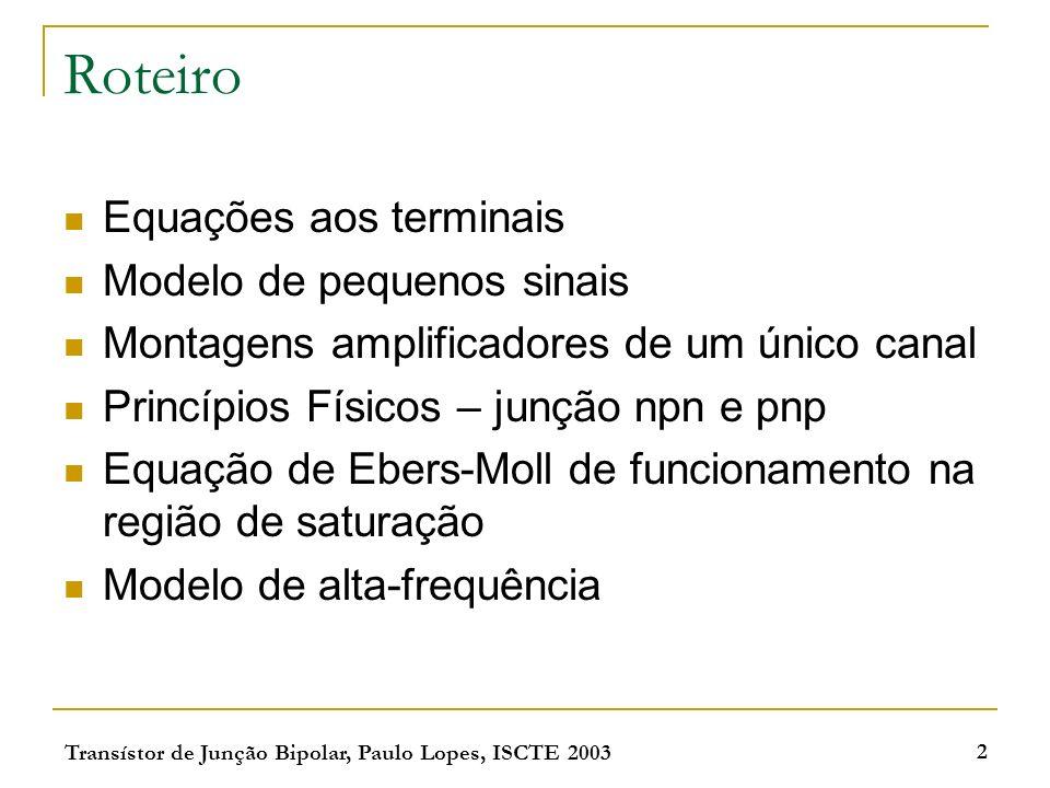 Roteiro Equações aos terminais Modelo de pequenos sinais