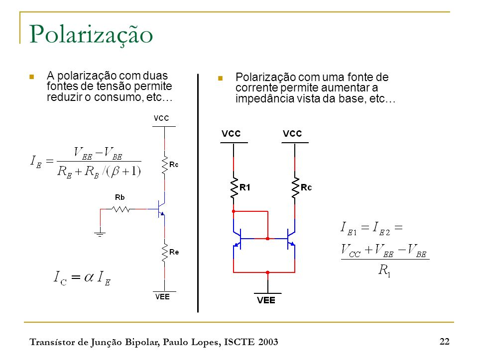 Polarização A polarização com duas fontes de tensão permite reduzir o consumo, etc…