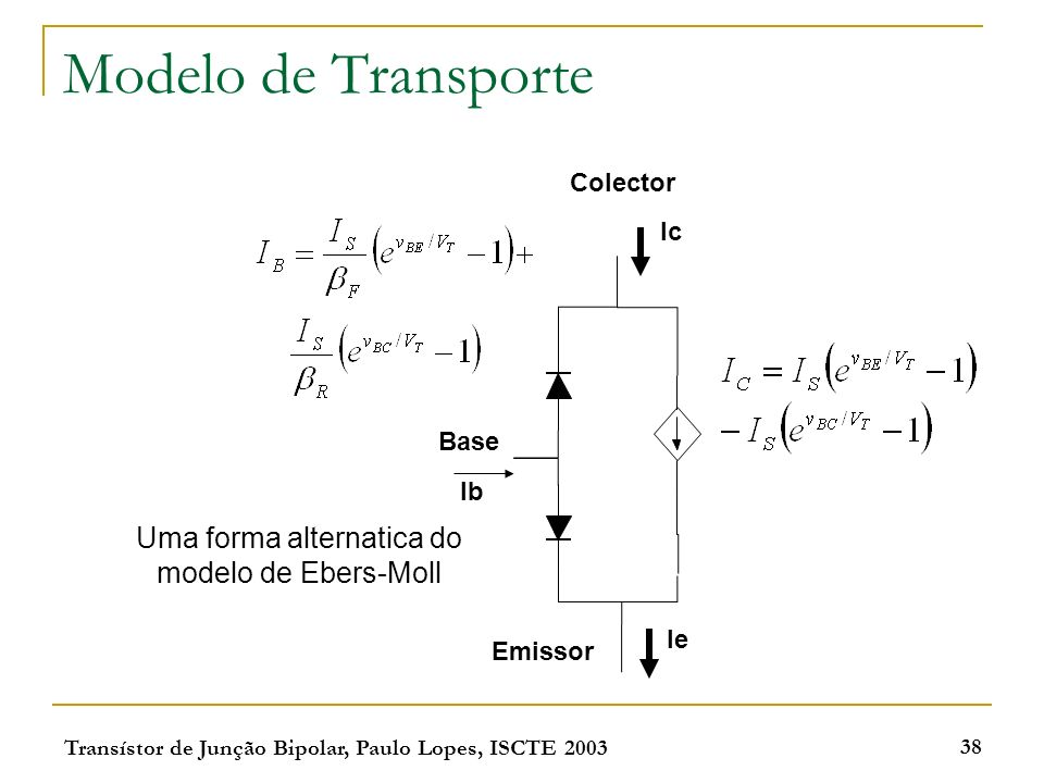 Uma forma alternatica do modelo de Ebers-Moll