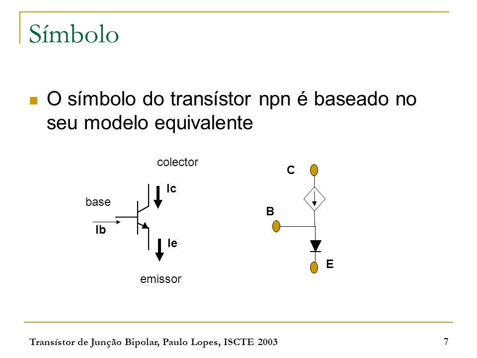 Símbolo O símbolo do transístor npn é baseado no seu modelo equivalente. colector. C. Ic. base.