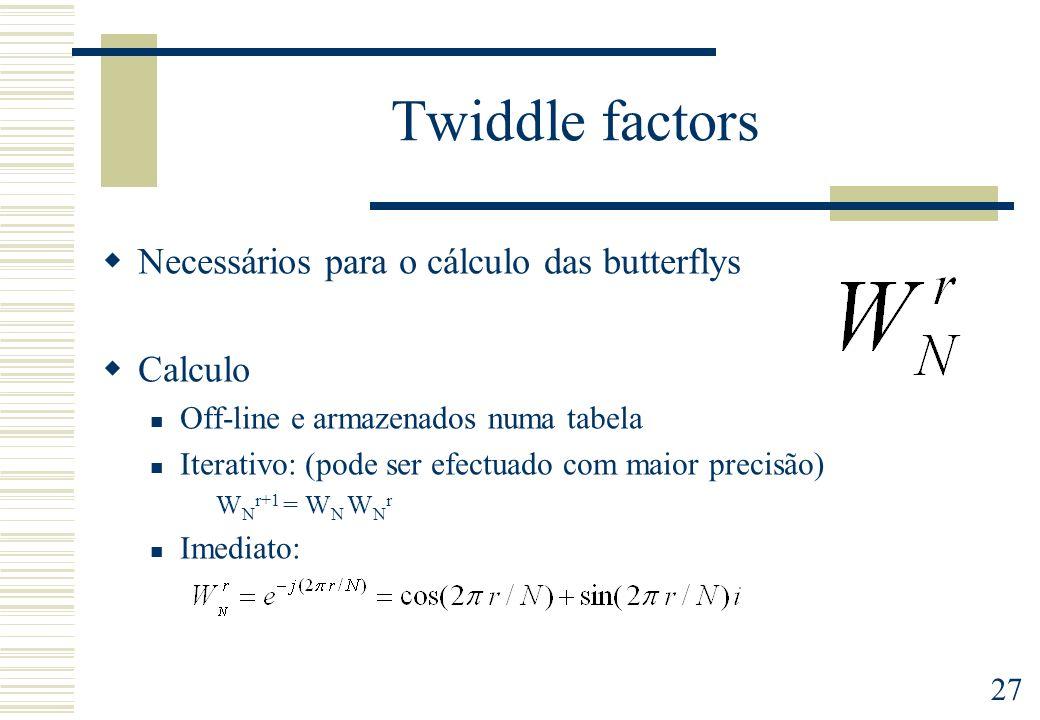Twiddle factors Necessários para o cálculo das butterflys Calculo