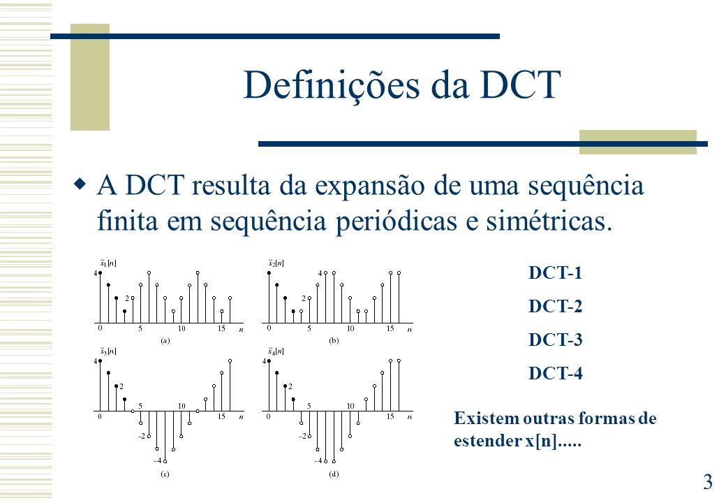 Definições da DCT A DCT resulta da expansão de uma sequência finita em sequência periódicas e simétricas.