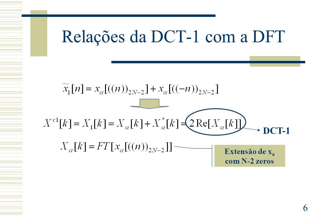 Relações da DCT-1 com a DFT