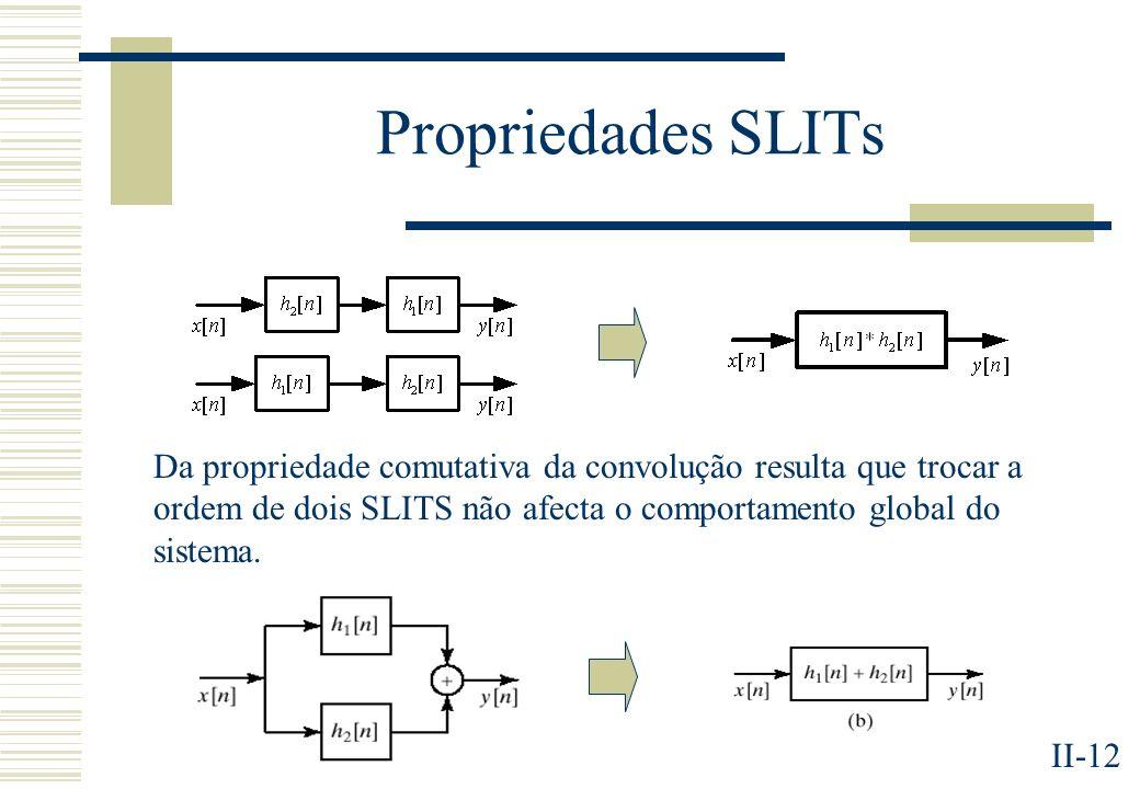 Propriedades SLITs Da propriedade comutativa da convolução resulta que trocar a ordem de dois SLITS não afecta o comportamento global do sistema.