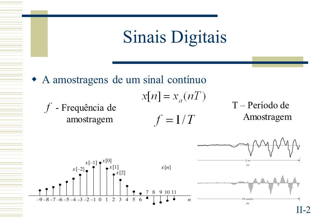 Sinais Digitais A amostragens de um sinal contínuo