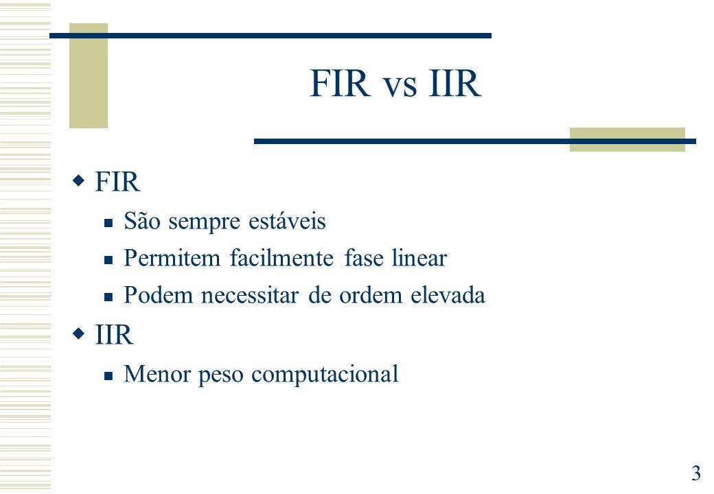 FIR vs IIR FIR IIR São sempre estáveis Permitem facilmente fase linear
