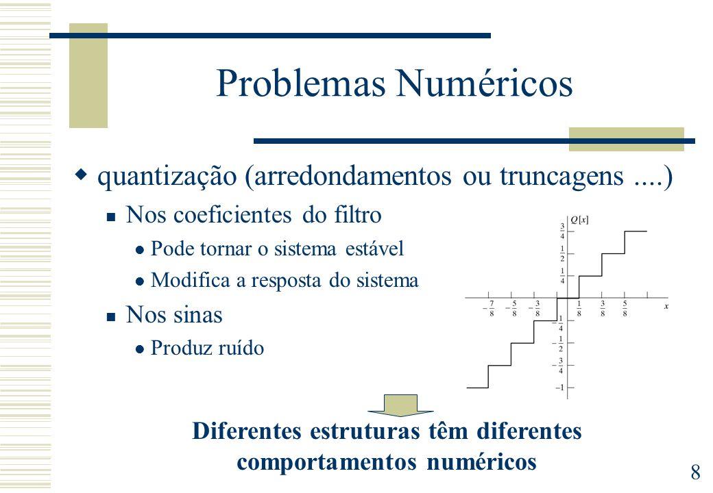 Diferentes estruturas têm diferentes comportamentos numéricos