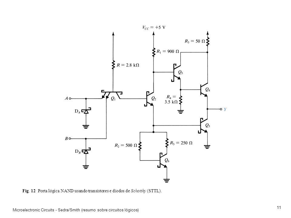 Fig. 12 Porta lógica NAND usando transístores e díodos de Schottky (STTL).