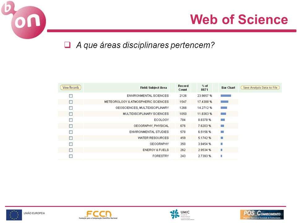 Web of Science A que áreas disciplinares pertencem