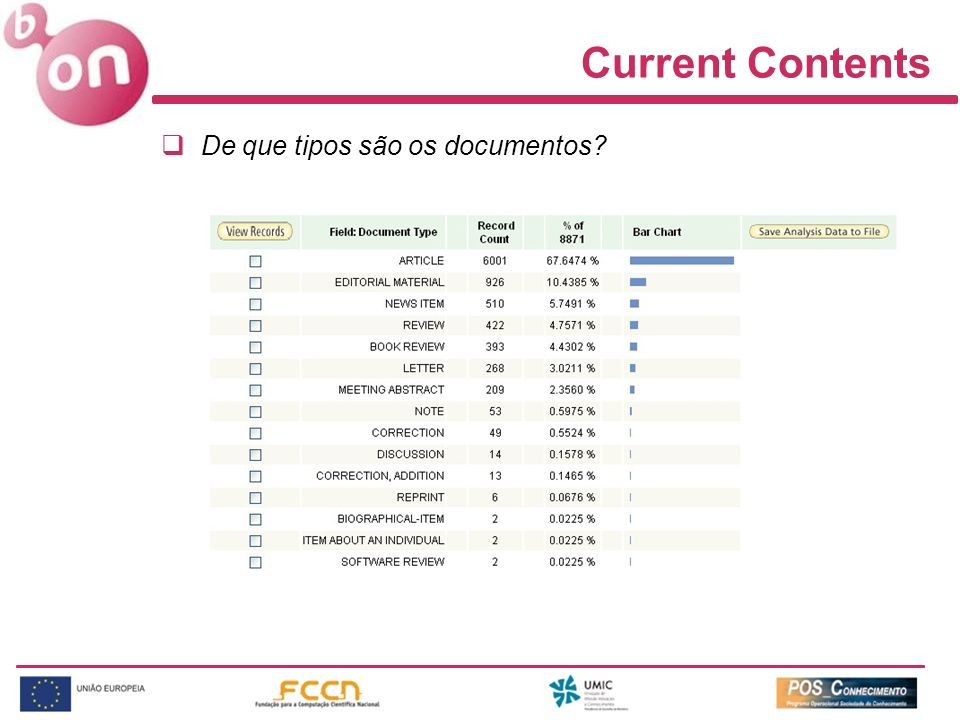 Current Contents De que tipos são os documentos