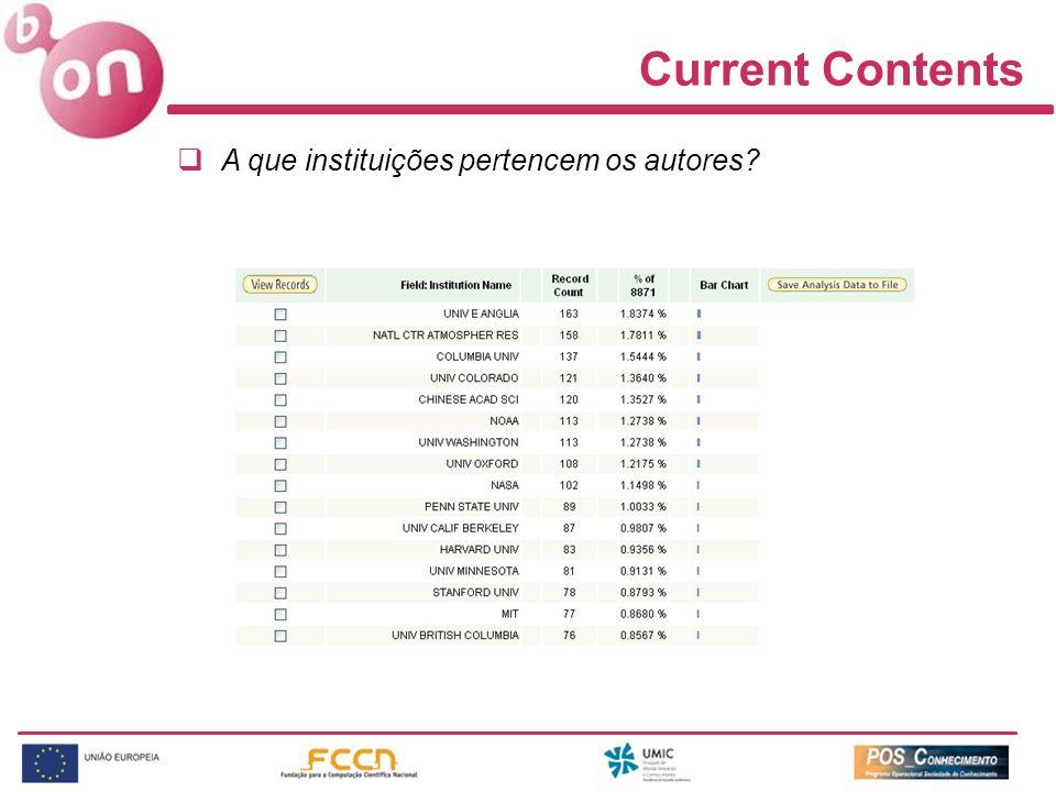 Current Contents A que instituições pertencem os autores