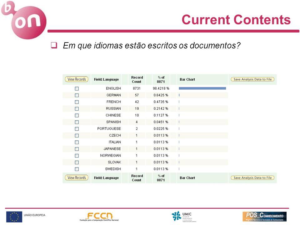 Current Contents Em que idiomas estão escritos os documentos