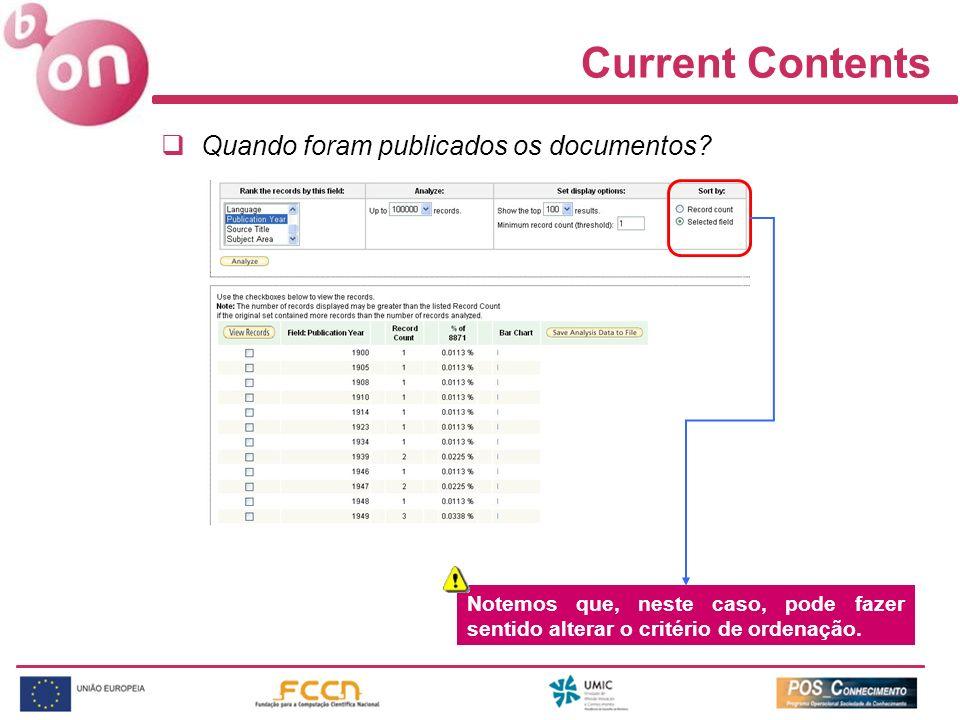 Current Contents Quando foram publicados os documentos