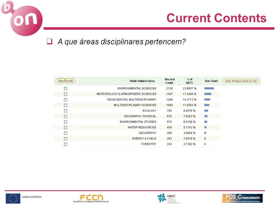 Current Contents A que áreas disciplinares pertencem