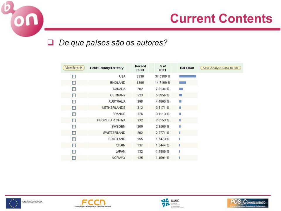 Current Contents De que países são os autores