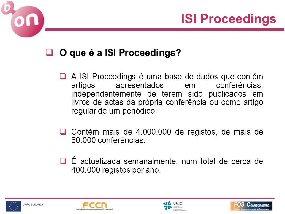 ISI Proceedings O que é a ISI Proceedings