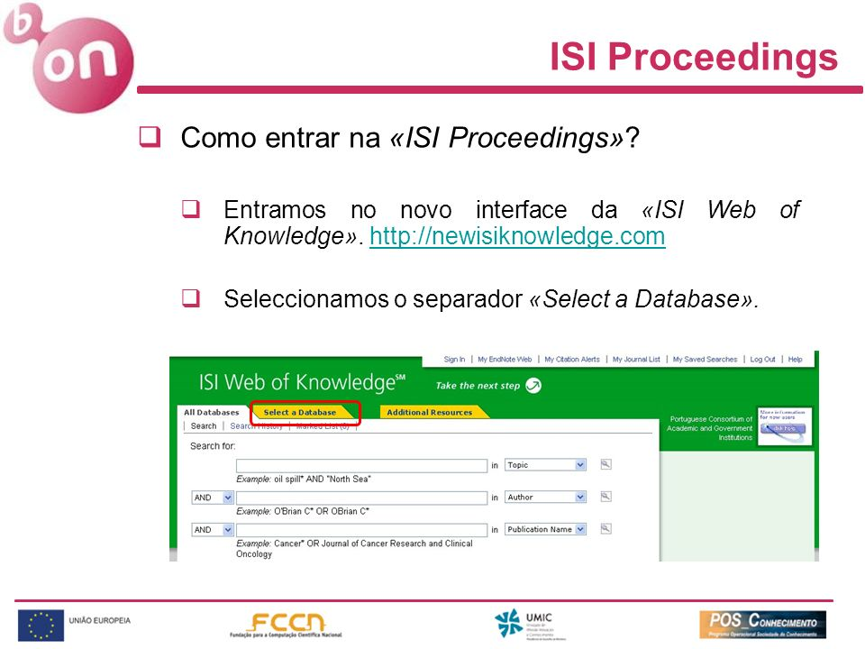 ISI Proceedings Como entrar na «ISI Proceedings»