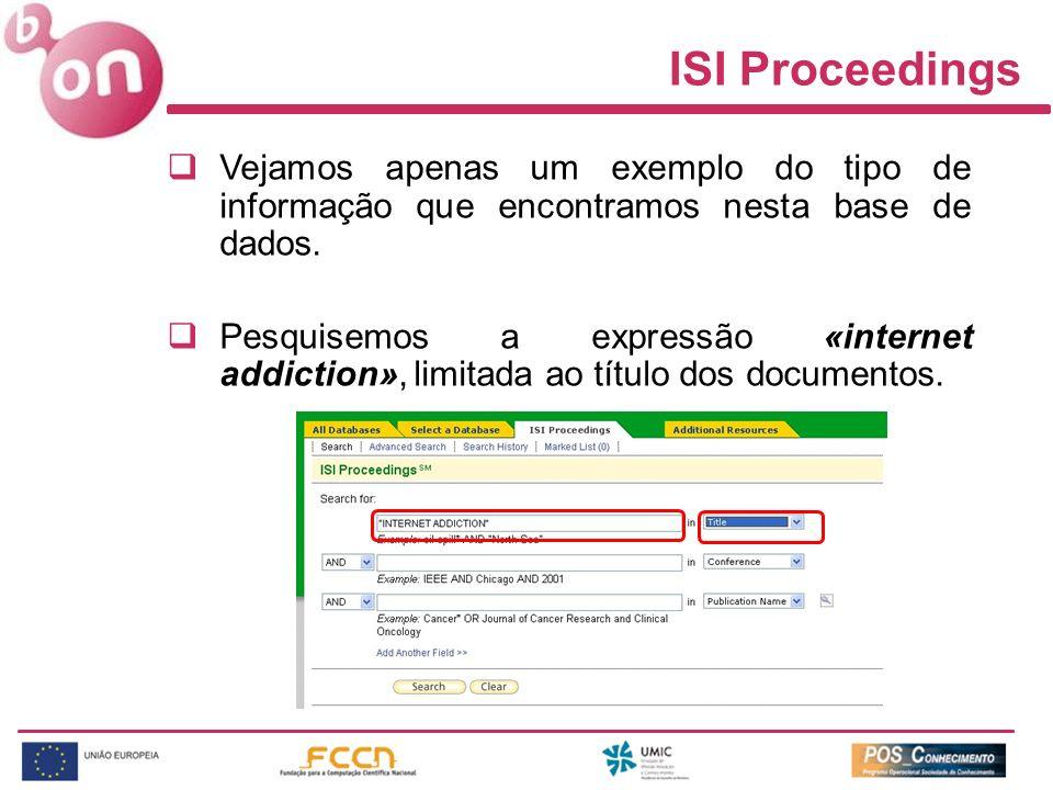 ISI Proceedings Vejamos apenas um exemplo do tipo de informação que encontramos nesta base de dados.