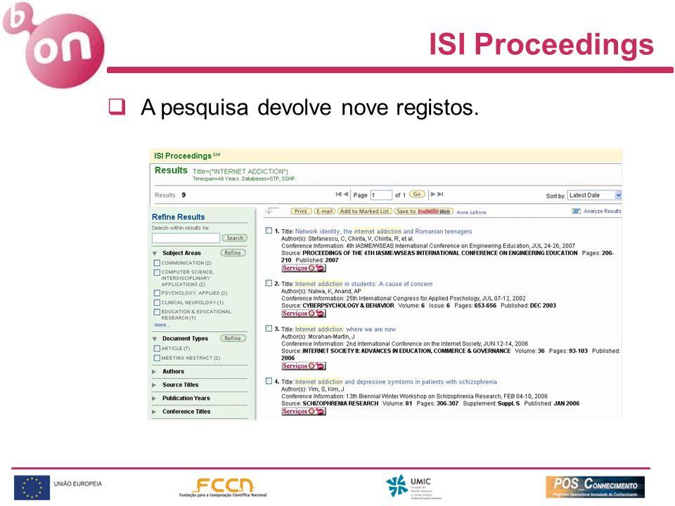 ISI Proceedings A pesquisa devolve nove registos.