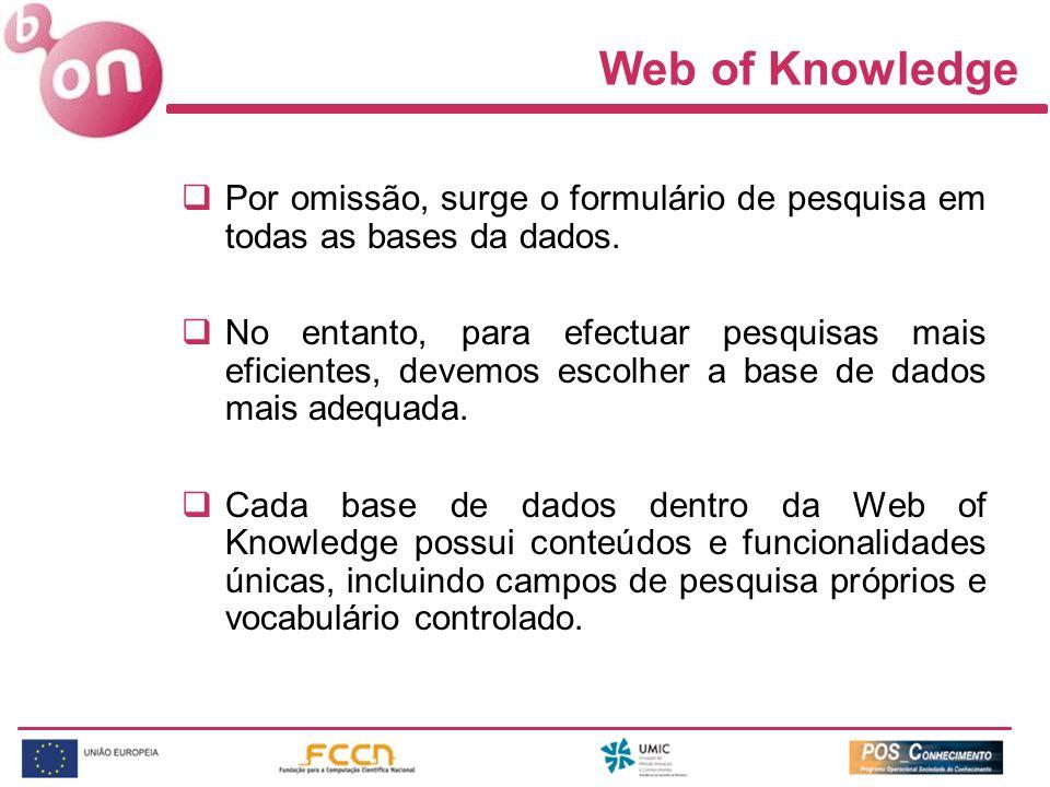 Web of Knowledge Por omissão, surge o formulário de pesquisa em todas as bases da dados.