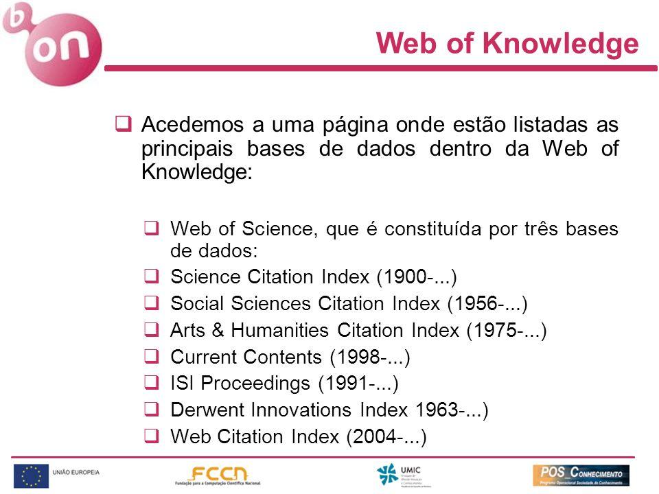 Web of Knowledge Acedemos a uma página onde estão listadas as principais bases de dados dentro da Web of Knowledge: