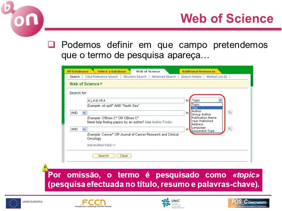 Web of Science Podemos definir em que campo pretendemos que o termo de pesquisa apareça…