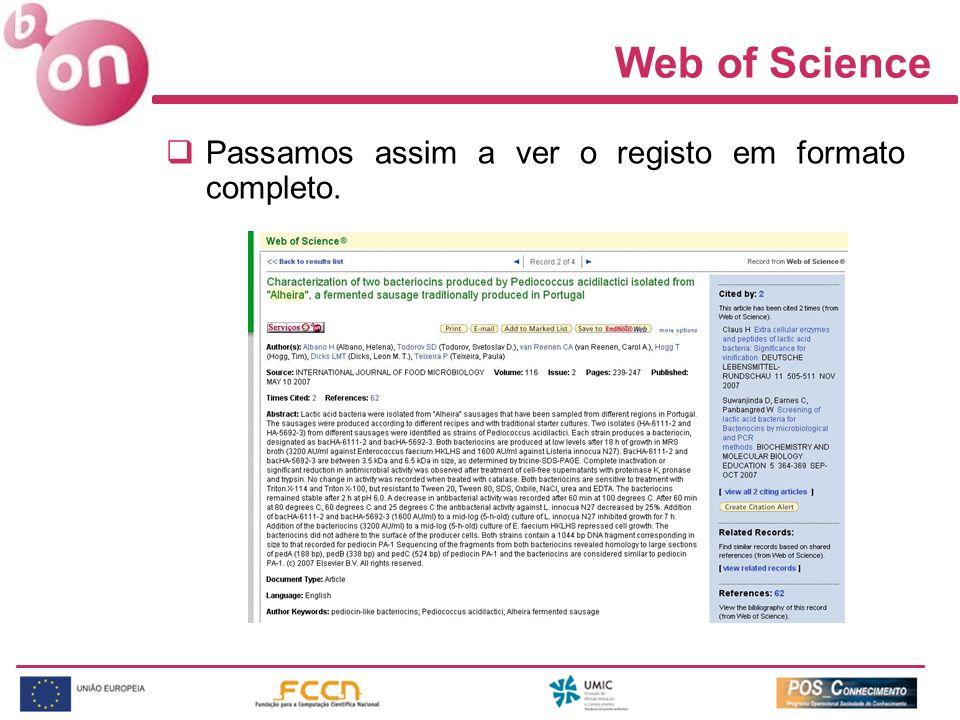 Web of Science Passamos assim a ver o registo em formato completo.