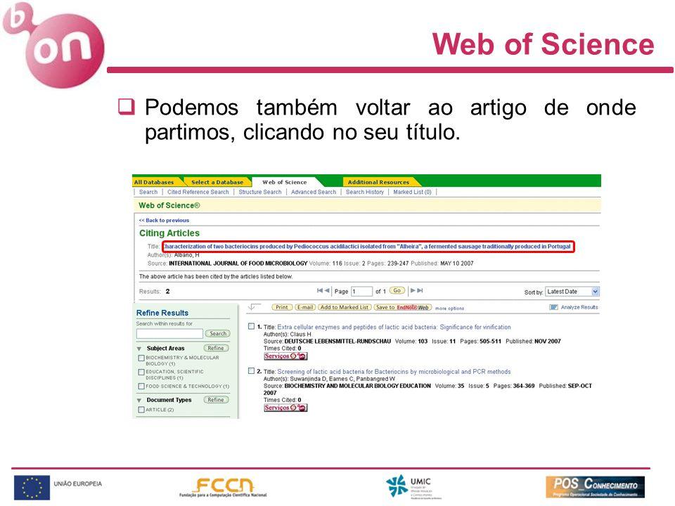 Web of Science Podemos também voltar ao artigo de onde partimos, clicando no seu título.