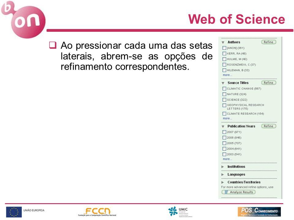 Web of Science Ao pressionar cada uma das setas laterais, abrem-se as opções de refinamento correspondentes.