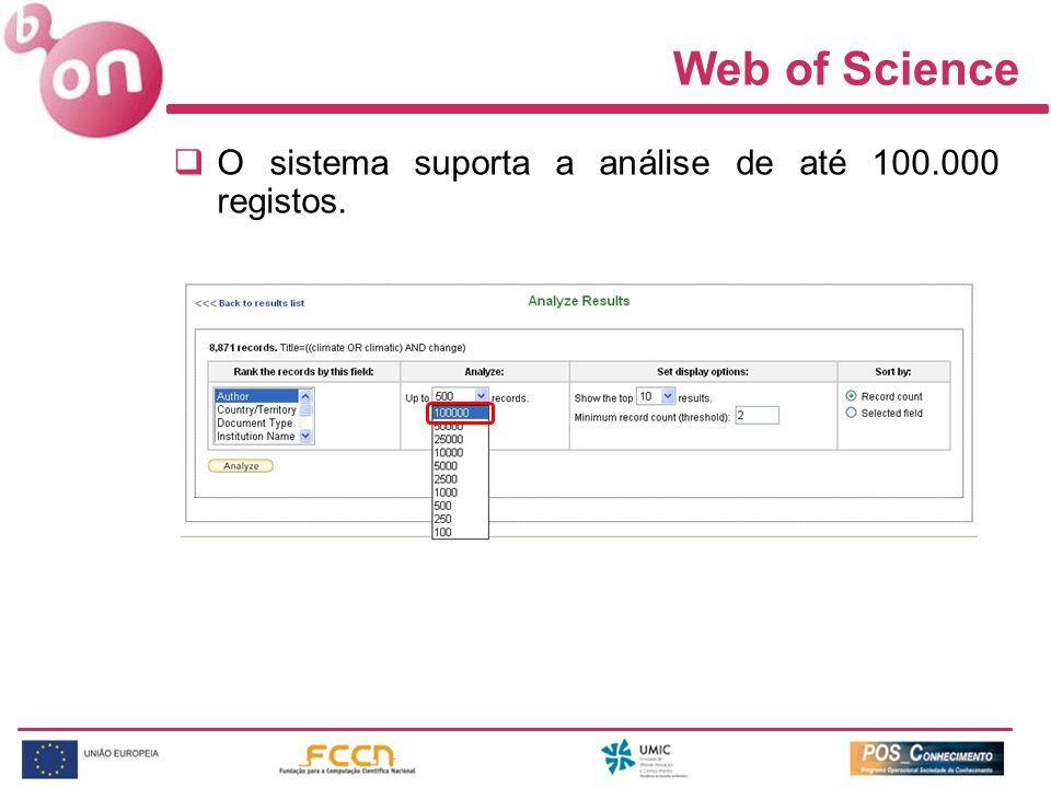 Web of Science O sistema suporta a análise de até 100.000 registos.