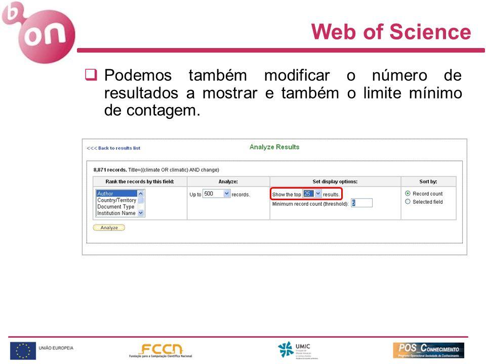Web of Science Podemos também modificar o número de resultados a mostrar e também o limite mínimo de contagem.