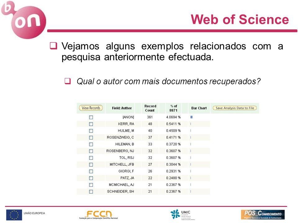 Web of Science Vejamos alguns exemplos relacionados com a pesquisa anteriormente efectuada.