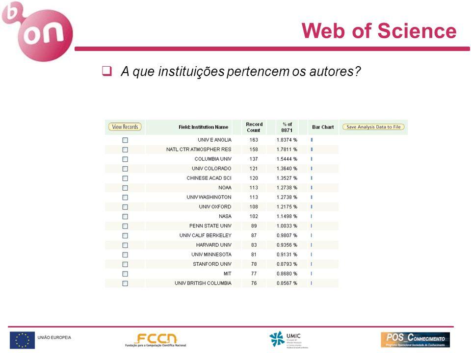 Web of Science A que instituições pertencem os autores