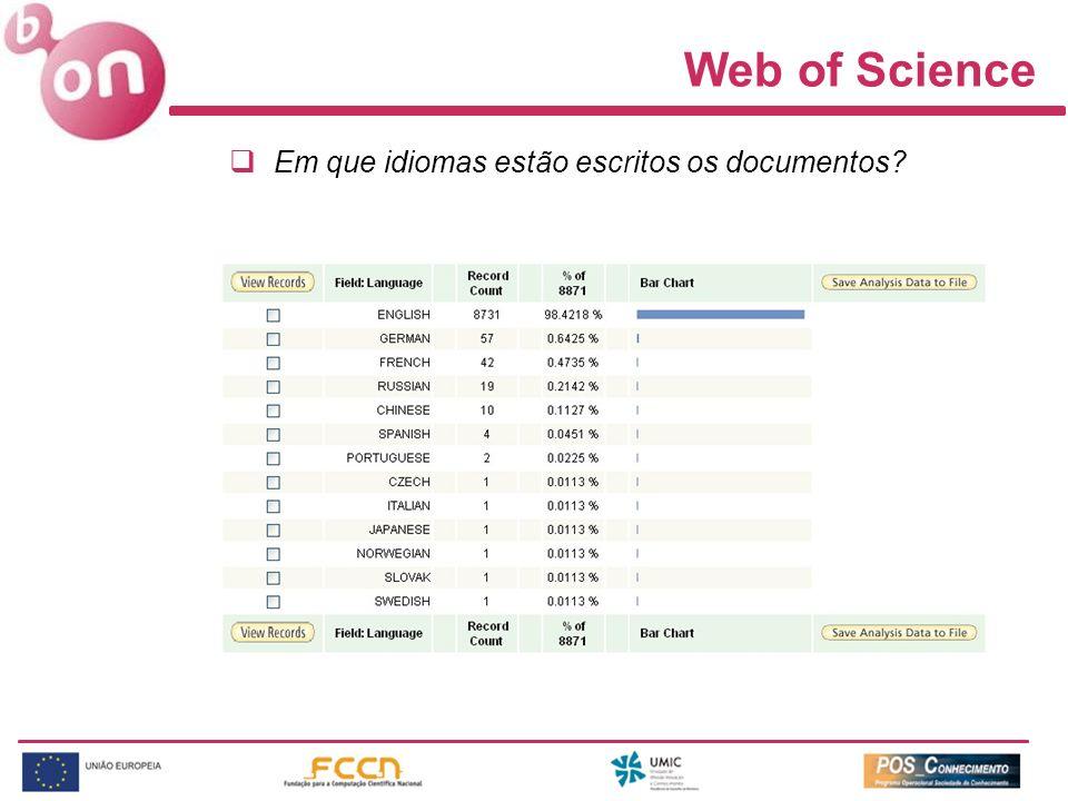 Web of Science Em que idiomas estão escritos os documentos
