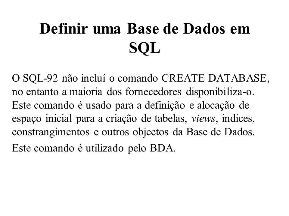 Definir uma Base de Dados em SQL