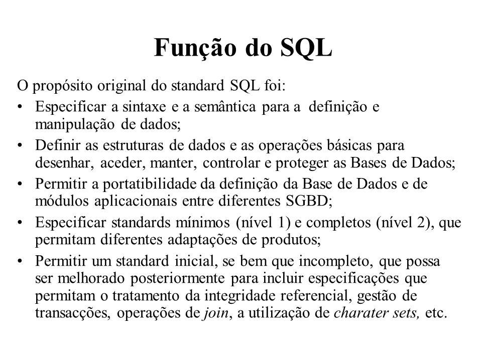 Função do SQL O propósito original do standard SQL foi: